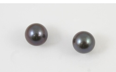 A PAIR OF CULTURED PEARL STUD EARRINGS each earring set with...