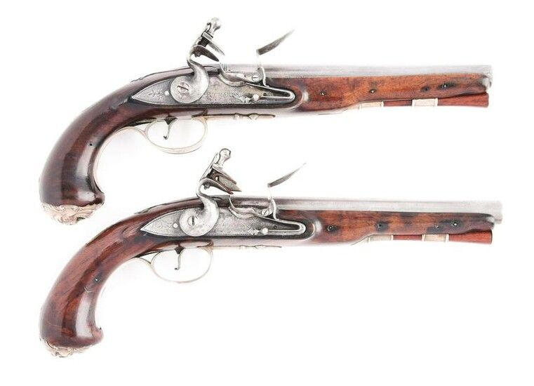 (A) PAIR OF SILVER MOUNTED OFFICERS PISTOLS, POSSIBLY