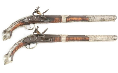(A) PAIR OF SILVER MOUNTED OTTOMAN FLINTLOCK HOLSTER