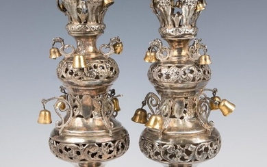 A PAIR OF STERLING SILVER TORAH FINIALS. American, c.