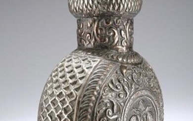 A PERSIAN WHITE-METAL FLASK, probably 19th Century