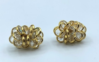 A Pair Of 18ct Gold Cluster Earrings 13.5g.