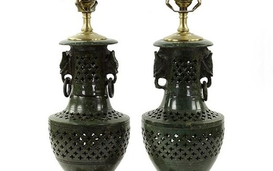A Pair of Chinese Carved Hardstone Lamps.