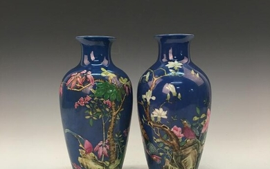 A Pair of Chinese Faience Vases, Yongzheng Mark