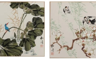 A Pair of Chinese Ink and Color Paintings on Paper