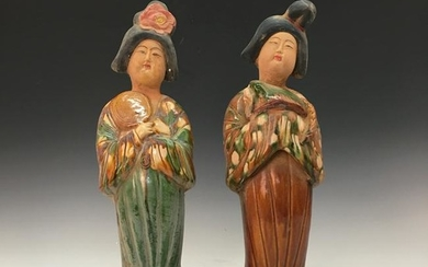 A Pair of Chinese Susancai Beauty Figures