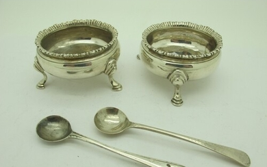A Pair of Georgian Hallmarked Silver Salts, SA, London 1773,...