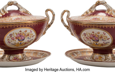 A Pair of Large Sevres-Style Porcelain Tureens with Covers