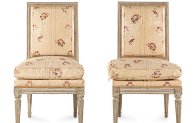 A Pair of Louis XVI Carved and Gray-Painted Side Chairs