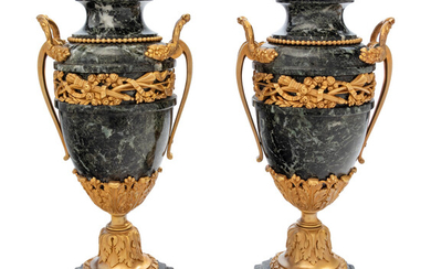 A Pair of Neoclassical Gilt Bronze Mounted Marble Urns