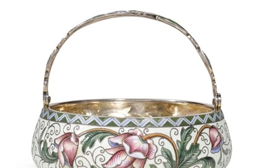 A SILVER-GILT AND CLOISONNÉ ENAMEL SUGAR BASKET, FEODOR RÜCKERT, MOSCOW, 1899-1908