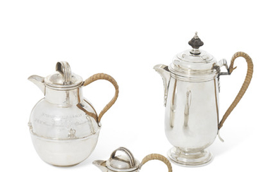 A SILVER HOT WATER JUG AND TWO SILVER HOT MILK JUGS, MARK OF MARSTON AND COMPANY, BIRMINGHAM, 1985; MARK OFJOHN HENRY RAWLINGS, LONDON, 1908; MARK OF KENNETH TYLER KEY, BIRMINGHAM, 1970