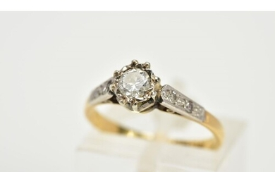 A SINGLE STONE DIAMOND RING, the yellow metal ring set with ...