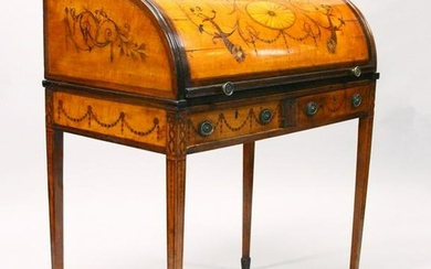 A SUPERB GEORGE III SATINWOOD INLAID CYLINDER BUREAU