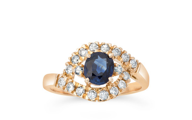 A Sapphire, Diamond and Pink Gold Ring
