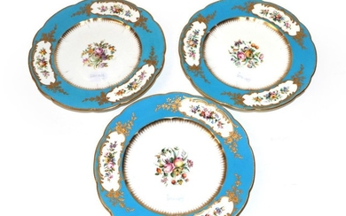 A Set of Three English Porcelain Plates, circa 1870, in...