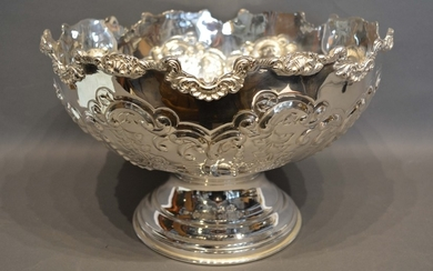A Silver Plated Large Punch Bowl embossed with scrolls and f...