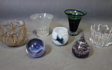 A collection of seven pieces of glassware, to include a Holm...