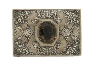 A continental silver rectangular casket, chased with foliate...