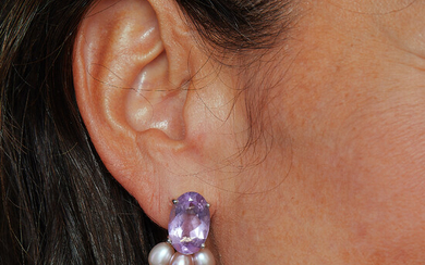 A cultured pearl, amethyst and gold pair of ear clips...