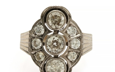 A diamond ring set with nine brilliant-cut diamonds, totalling app. 1.84 ct., mounted in 14k white gold. Front app. 14×20 mm. Size 55. Circa 1950.