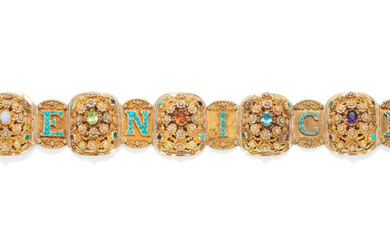 A gold and gem-set bracelet, circa 1830