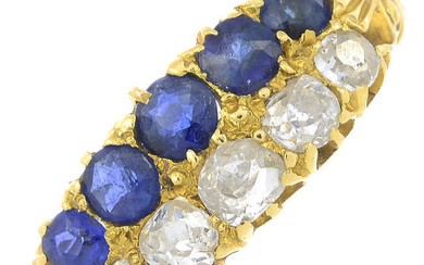 A late 19th century 18ct gold sapphire and old-cut diamond ring.