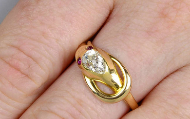 A late Victorian gold diamond and ruby snake ring.