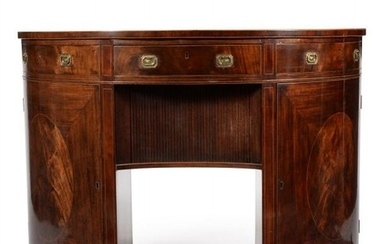 A pair George III figured mahogany side cabinets or serving tables, circa 1810