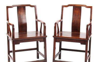 A pair of 19th century Chinese hongmu throne chairs, parts p...