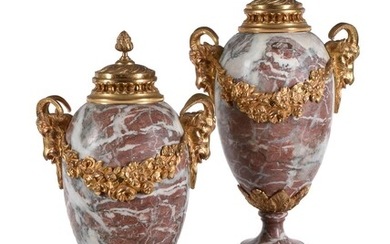 A pair of French Brocatelle marble and gilt metal mounted urns in Louis XVI style