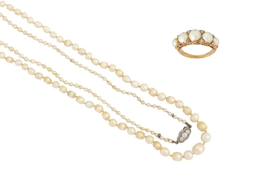 A pearl necklace and a pearl and diamond ring