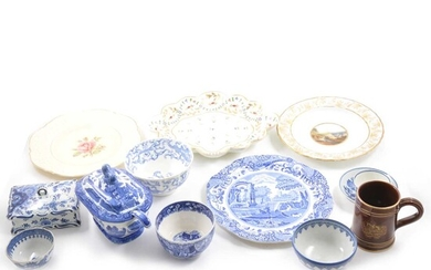 A quantity of ceramics, including early Worcester and Derby