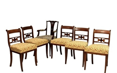 A set of five early 19th century mahogany label back dining ...