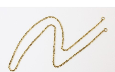 A yellow metal spiga link chain, 60cm long, unmarked, weight...