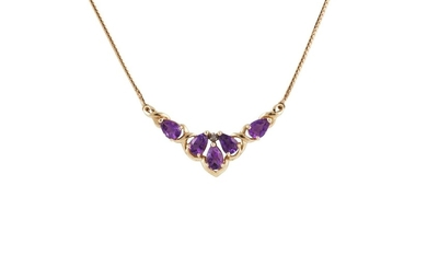 AN AMETHYST NECKLACE, mounted in yellow gold, to a gold back...