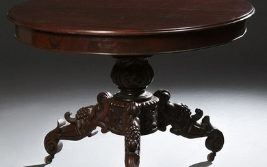 American Carved Mahogany Center Table, early 20th c.