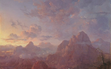 American School(?), circa 1840, An extensive mountainous landscape at sunset, with two vultures perched on a rocky outcrop in the foreground