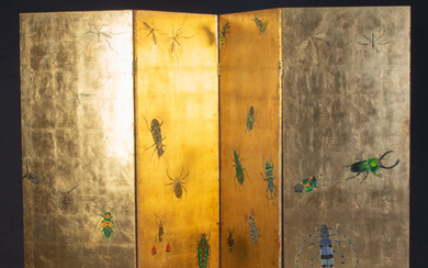 Andreas Maier, screen, 4 parts, with insect décor