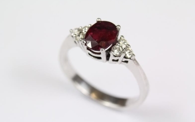 Antique 18ct yellow gold ruby and diamond ring, the...