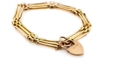 Antique 9ct rose gold gate link bracelet marked 9ct Rp to he...