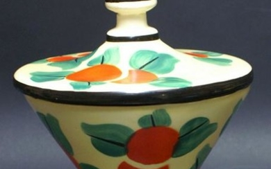 Antique Art Pottery Czech Covered Candy Dish