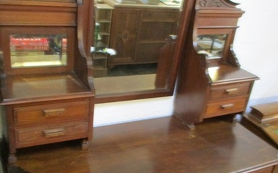 Antique Carved Wooden Dressing Table with Ornate Top Mirror