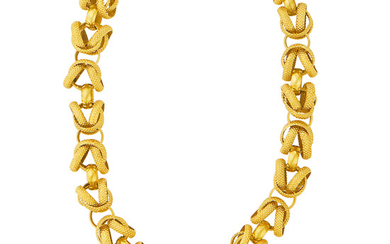 Antique Gold Chain Necklace with Gold and Turquoise Clasp