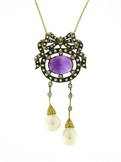 Antique style 9ct gold necklace set with cabochon