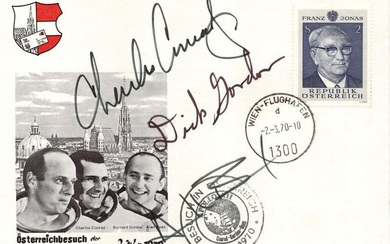 Apollo 12 Crew Signed Austrian FDC, Conrad, Gordon, and