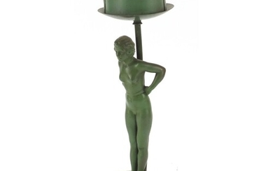 Art Deco figural table lamp in the form of a nude female, ra...