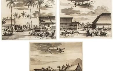 [BATAVIA] – LOT of 3 late 17th-cent. engraved views of Batavia (in the former Dutch East Indies).