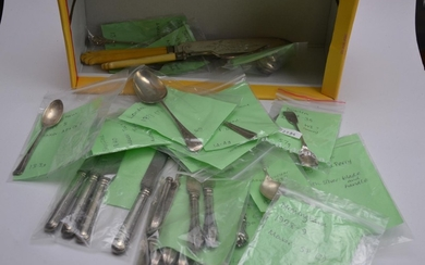 Box of silver items, mostly knives, forks & spoons, with a t...