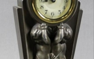 Bronze Art Deco Table Clock